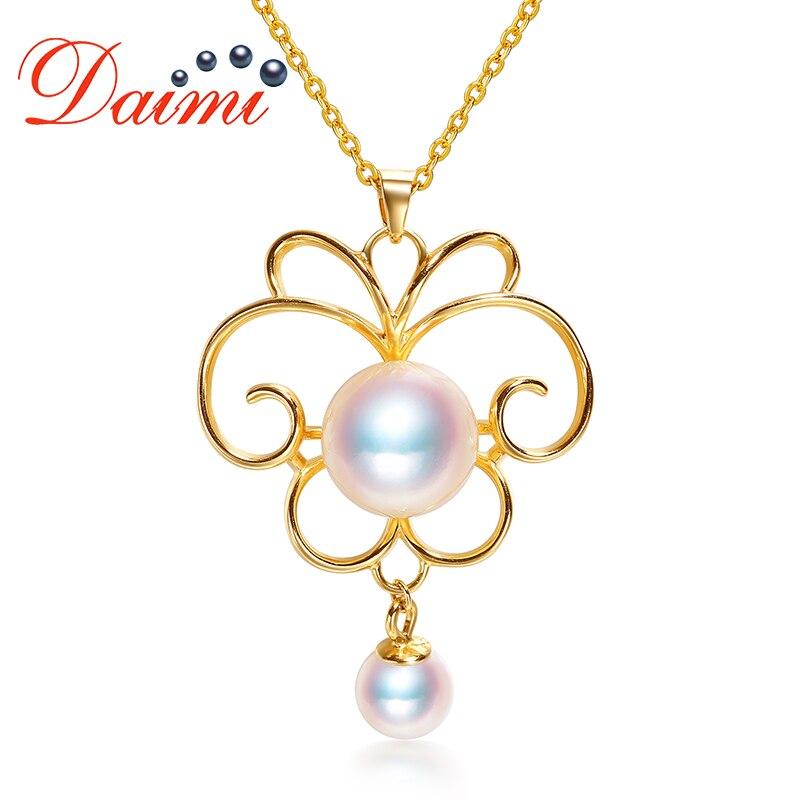DAIMI pendentif papillon 925 pendentif en argent 8-8.5mm pendentif perle Akoya