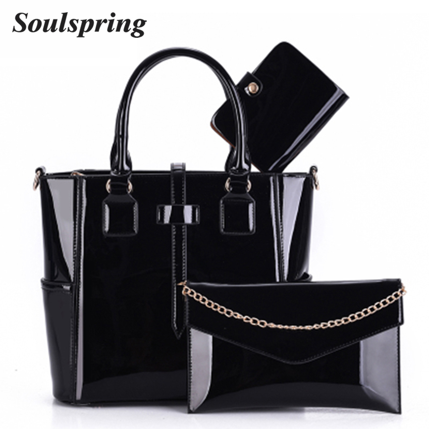 New Luxury Patent Leather Handbag Women 3 Sets Lady Designer Handbags High Quality Woman Shoulder Bag Famous Brand Composite Bag цена