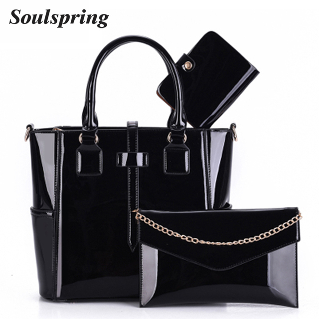 e45d1b3fe03 New Luxury Patent Leather Handbag Women 3 Sets Lady Designer Handbags High  Quality Woman Shoulder Bag Famous Brand Composite Bag