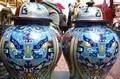 Китай королевская Бронза Медь cloisonne эмаль Gen. jar Aquarius бутылка горшок ваза пара 8 02