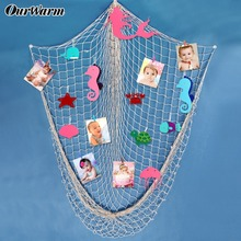 OurWarm Nautical Party DIY Wall Hanging Fishing Net Felt Mermaid Artificial Starfish Photo Kids Birthday Wedding Home Decoration