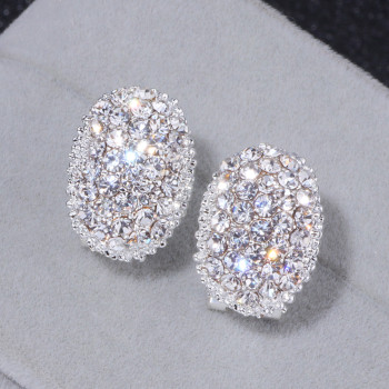 Classic Design Romantic Jewelry  Silver Color Zirconia Stone Stud Earrings Wedding Jewelry