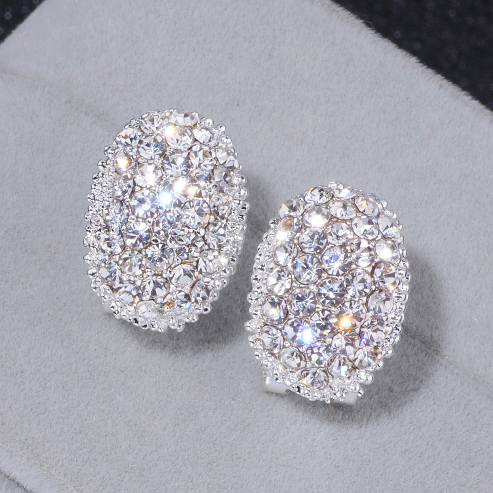 Classic Design Romantic Jewelry 2018 Silver Color AAA Cubic Zirconia Stone Stud Earrings For Women Elegant Wedding Jewelry WX023 đồng hồ gucci dây nam châm
