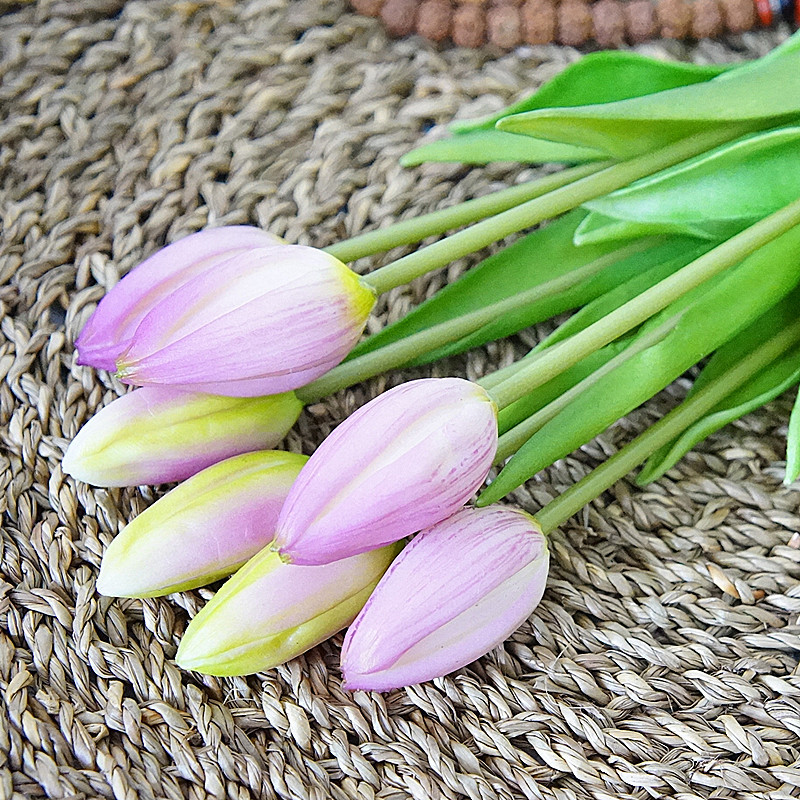 44cm Real touch soft silicone Artificial 7Pcs/bunch tulips home decoration Fake flower wedding  bridal handing flowers tulip-4