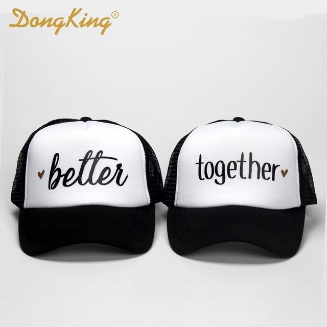 ff4c69fc3596e Dongking moda gorros mejor juntos letras imprimir Top calidad gorras marido  y mujer de la boda