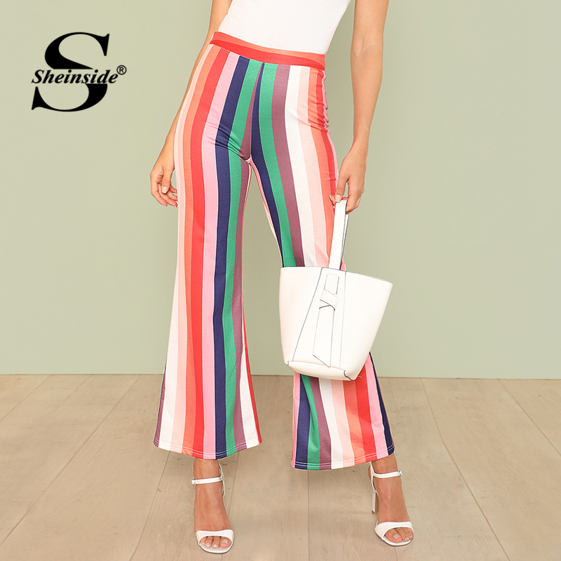 Sheinside Vertical Striped Flare Hem Pants Multicolor High Waist Trousers Office Ladies Workwear Summer Casual Long Pants