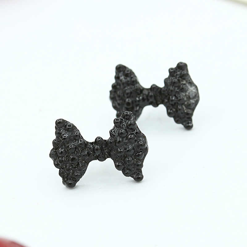 High Quality Fashion Simple Vintage Metal Black Bow Stud Earrings Butterfly  Female Ear Studs Jewelry For Women Free Shipping