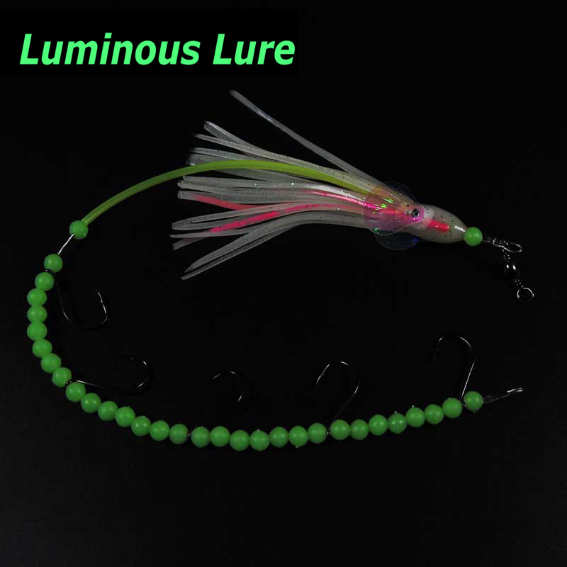 2pcs Luminous longtail octopus steel wire rig <font><b>barracuda</b></font> eel small mackerel <font><b>fishing</b></font> rig <font><b>Fishing</b></font> <font><b>Lure</b></font> Bait for saltwater #4 image