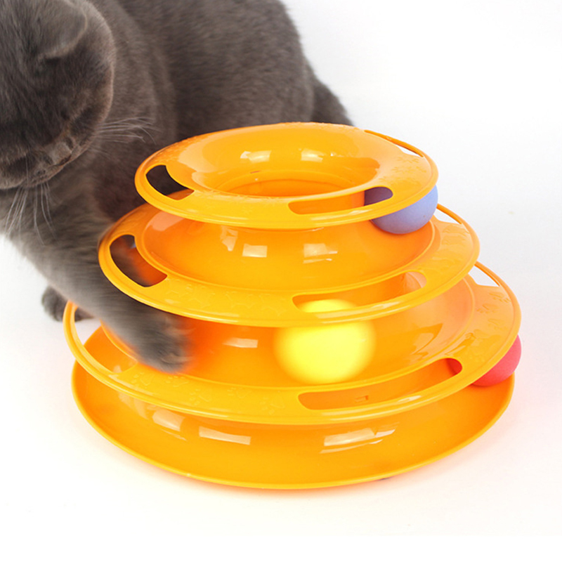YVYOO 3 layer Funny Pet Toys Cat Crazy Ball Disk Interactive Amusement Plate Play Disc Trilaminar Turntable Cat Toy 1pcs D12