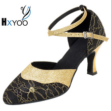 HXYOO Customized Women Black Ballroom Latin Dance Shoes Salsa Ladies Tango Party Dancing Soft Sole WK044