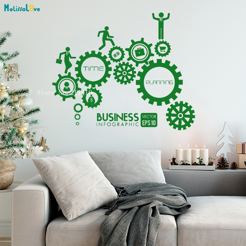 Teamwork Creative Gear Vinyl Wall Sticker Mechanical Decals Decoration Corporate Conference Room Office Removable Murals Yt864 Wall Stickers Aliexpress