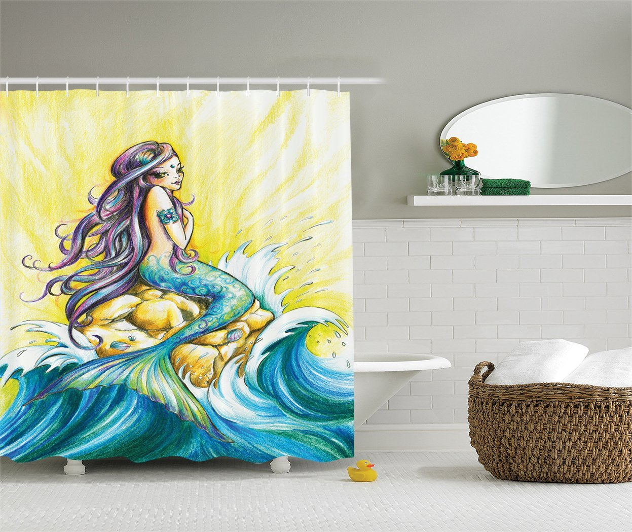 Little Mermaid Shower Curtain Decorations Mermaid Sitting On
