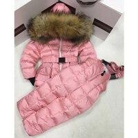 2018 зимнее пальто для девочек лыжный костюм детские комплекты для девочек модная зимняя одежда Теплый костюм детская одежда открытый набор