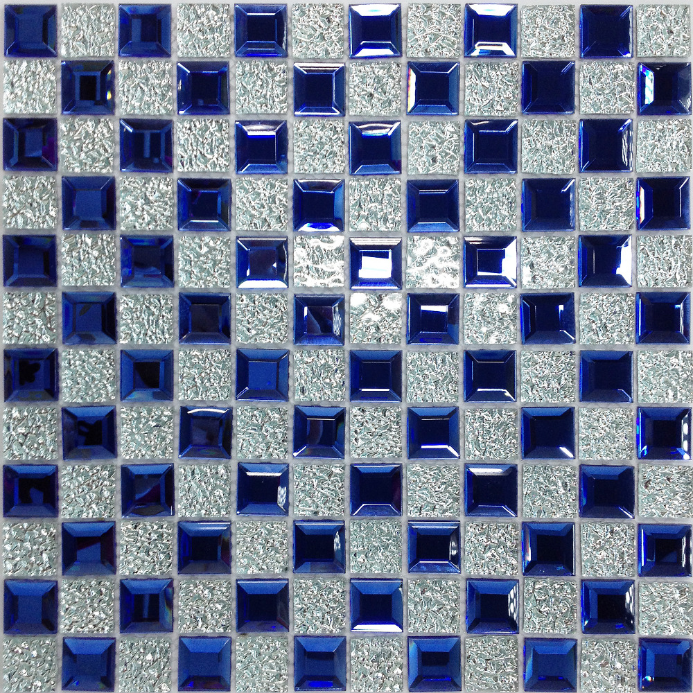 Blue 5 edges beveled Crystal Diamond Mirror Glass Mosaic Tiles for ...