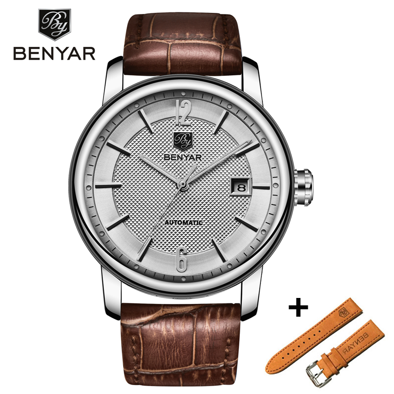 BENYAR Business Mens Mechanical Watches Set Waterproof Genuine Leather Brand Luxury Automatic Wristwatch Clock Relogio MasculinoBENYAR Business Mens Mechanical Watches Set Waterproof Genuine Leather Brand Luxury Automatic Wristwatch Clock Relogio Masculino