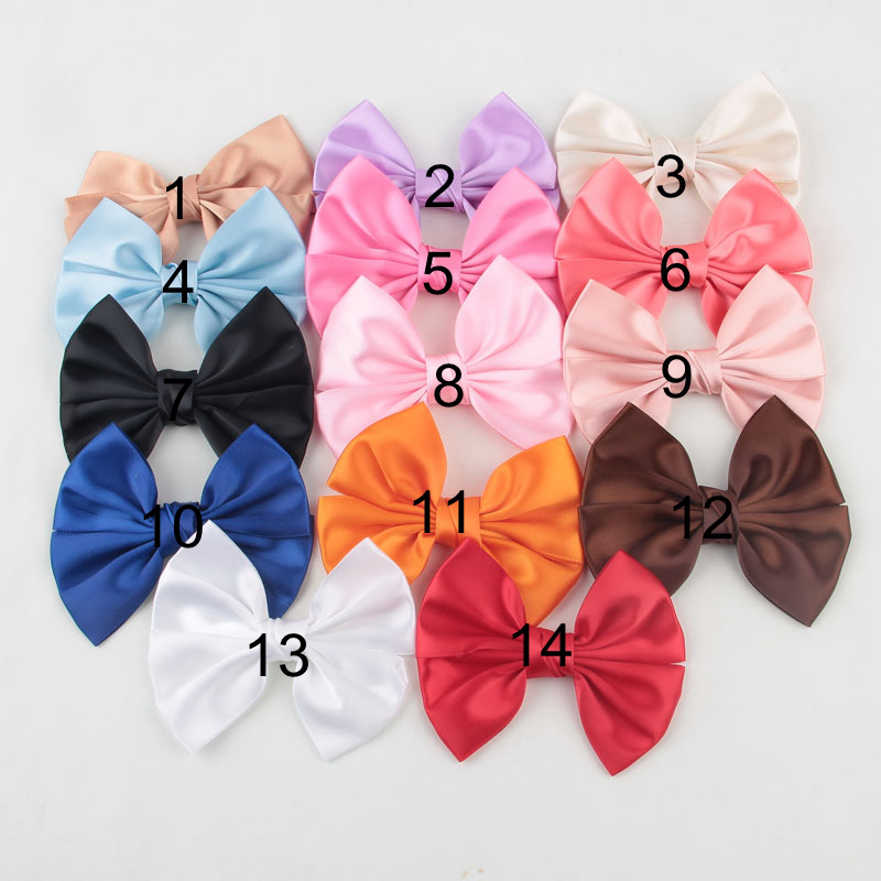 30pcs/lot Korean Fashion Satin Ribbon Hair Bows No Clip Big Bow Knot Satin Bow Girl Headwear Headdress Children Hair Accessories