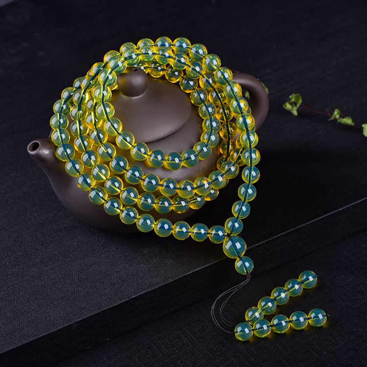 Amber amber 108 beads necklace bracelet with gold blue percol when chain Blue Amber Beads