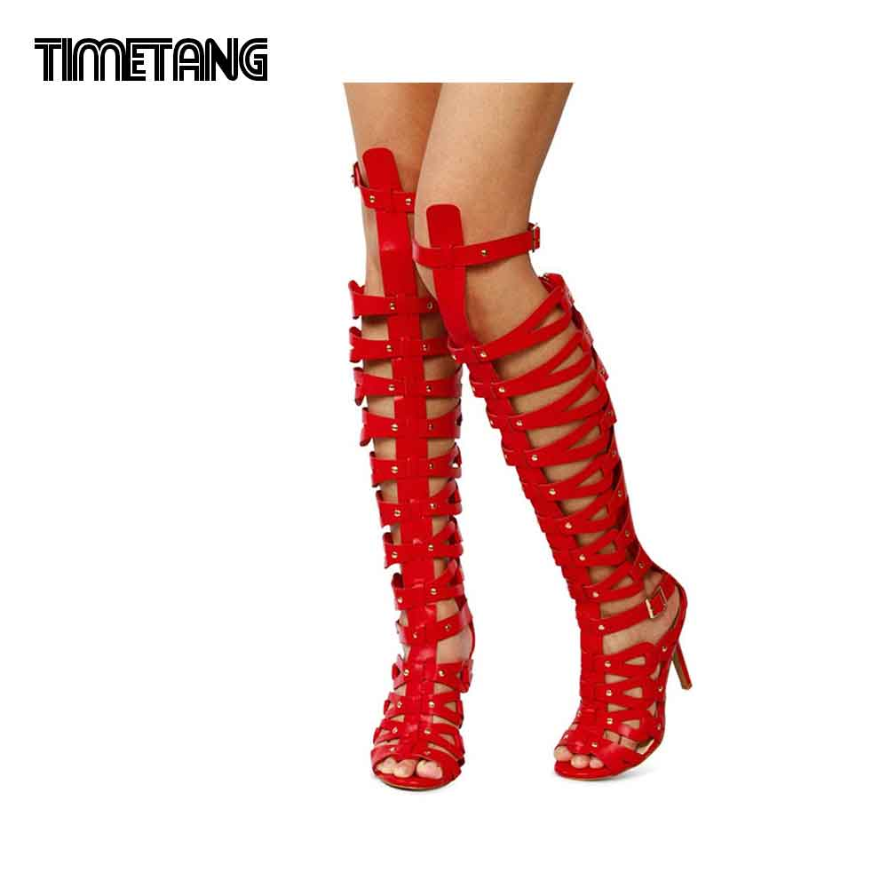 Summer shoes for women Fashion sandals with high heels Gladiator Sandal Caged Studded Shoes s ultra high heels cool bootsUSR002 excellent design sandalias femininas tassels sandal summer shoes fashion design high heels gladiator womens sandals shoes