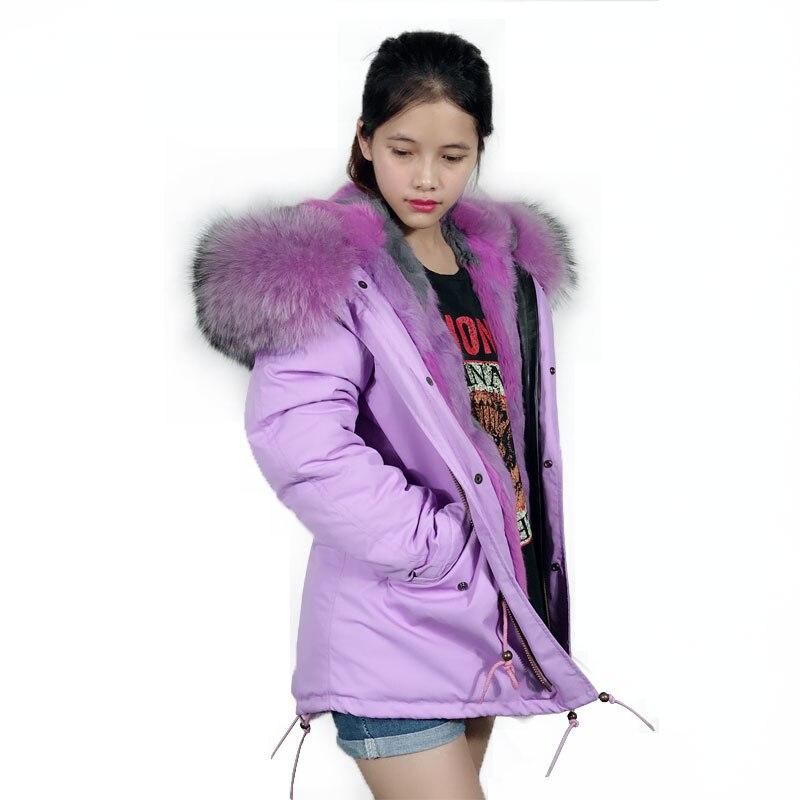 Real Rabbit Fur Purple Jacket Women Big Hooded Fur Jacket Winter Ladies Fashion Coat