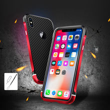цена For iPhone X Bumper Colored Metal Frame Case Cover with Back Carbon Fiber Hard Cover Phone Case for Iphone X iPhoneX Shell Cover онлайн в 2017 году