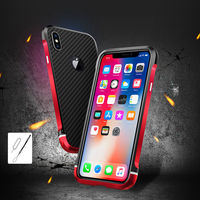 For IPhone X Bumper Colored Metal Frame Case Cover With Back Carbon Fiber Hard Cover Phone