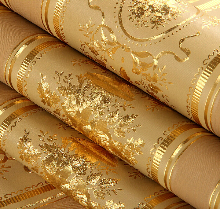 European Luxury Floral Striped Wallpaper Waterproof Embossed Gold Living Room Walls Rolls 3D Papel