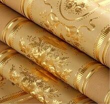 Европейской роскоши цветочные полосатый обои водонепроницаемый тисненые золотые обои гостиная стены рулонов обоев 3D Papel де Parede