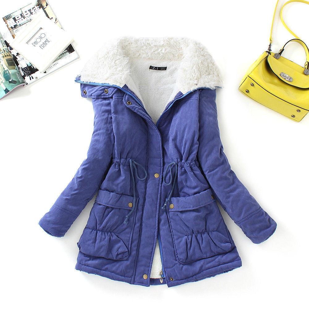 FTLZZ, новые зимние парки, женское тонкое хлопковое пальто, толстое пальто средней длины размера плюс, повседневное пальто, стеганая зимняя верхняя одежда - Цвет: navy blue