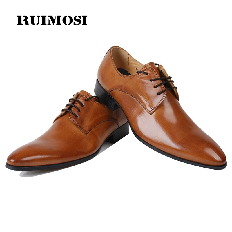 RUIMOSI Top Quality Brand Man Formal Dress Wedding Shoes Genuine Leather Derby Oxfords Pointed Toe Men's Flats For Bridal BD30