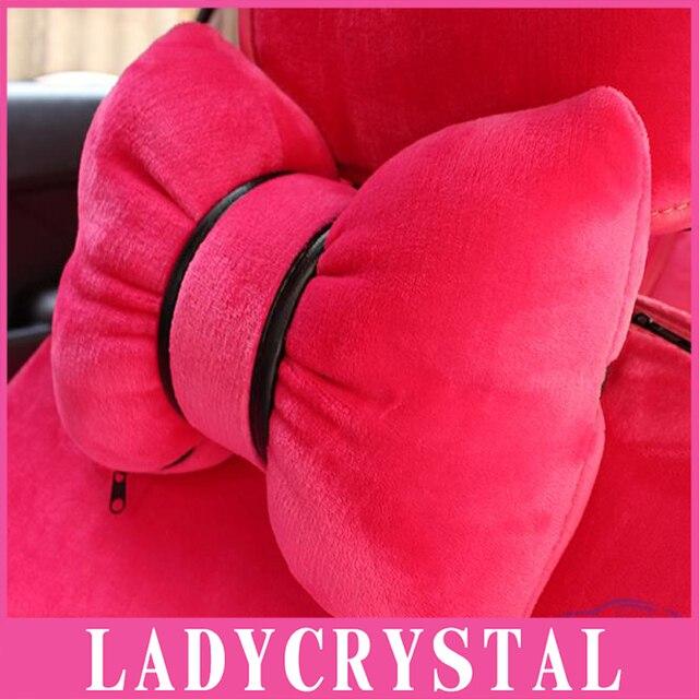 Ladycrystal Car Pillows Lovely Rose Headrest Pillows Soft Velvet Bowknot Pillows For Girls Women Ladies
