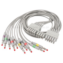 Compatible  MORTARA ELI 150C 230 250C 280 350 EKG cable IEC 10-Lead leadwires 28pin socket->Banana 4.0