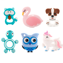 1pc Baby Silicone Teether Dog Beads Cartoon Rodent BPA Free Teething Toy Pendant Unicorn DIY Chain
