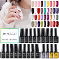 Nail Art Gel 18 colors Gel Nail Polish Set Kit Nail Art Gel Lacquer UV LED Lamp Design acrylic nail Manicure Set