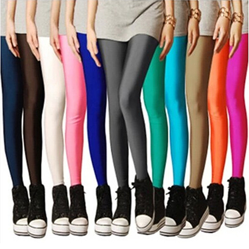 LIMSISNIW Sweet Girls Solid Color Women Plain Leggings with Silk Glossy Brief Long Styling Slim Look Black Legging Blue Yellow