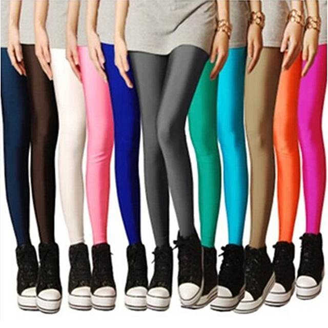 496bc46b55a64c Aliexpress.com : Buy LIMSISNIW Sweet Girl's Solid Color Women Plain Leggings  with Silk Glossy Brief Long Styling Slim Look Black Legging Blue Yellow from  ...