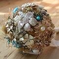 7-pulgadas personalizado ramo de novia, ramo broche Vintage, de oro de la boda de dama de honor ramos de flores, perla cristal composición