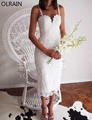 Olrain New Women Sexy Sleeveless Lace Crochet Hollow Out Slim Spaghetti Strap Sheath Dress with Linings