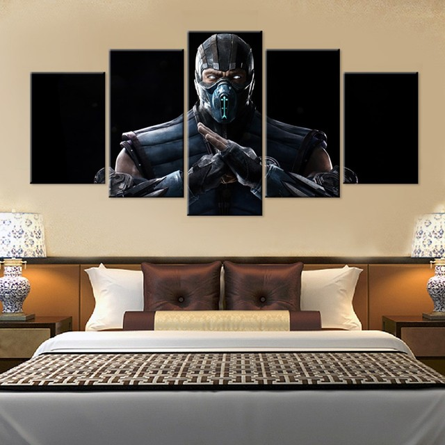 5 Pieces Mortal Kombat X Fighting Game Wall Art Picture Home Decoration Living Room Canvas Print