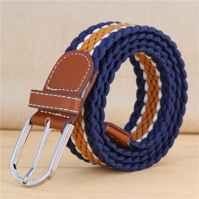 Canvas elastic Belt Casual stretch woven belt 12styles unisex metal buckle cummerbund Wide waist belts for men jeans strap