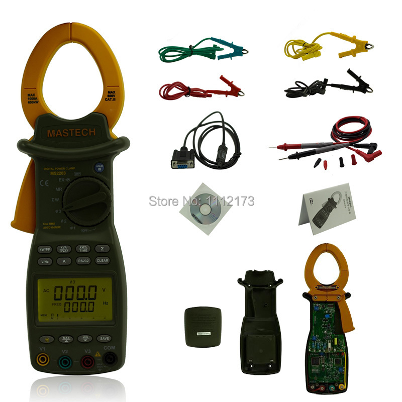MASTECH MS2203 3-Phase LCD Professional High Sensitivity Clamp Meter Power Factor Correction USB True-RMS 4 Wire Testing