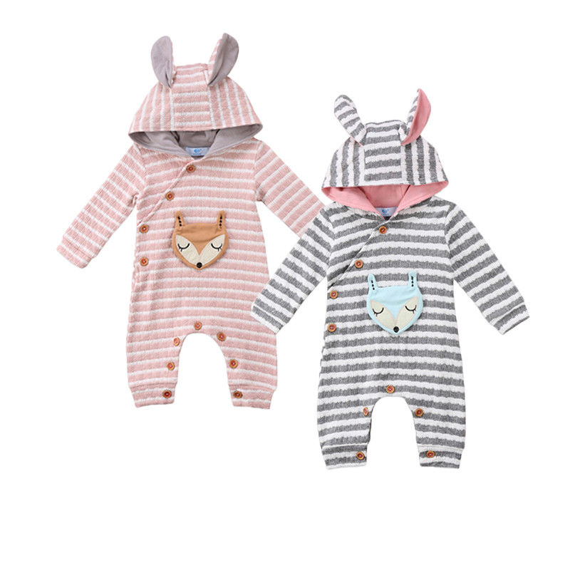 3D Ears Babies Hooded Rompers Newborn Baby Infant Boy Girl Hooded Striped Romper Jumpsuit Outfit Clothes 0-24M все цены