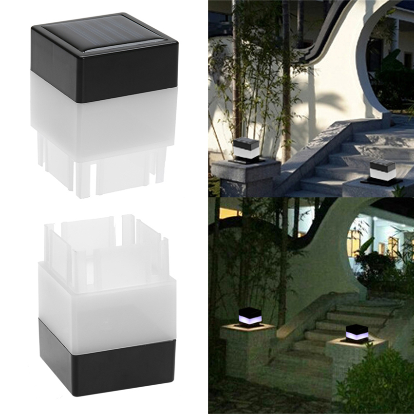 Solar Light Panel Fence Post Led Cap Outdoor Garden Light Yard Pool Lamp Floodlights Waterproof Square Lights Decor Landscape