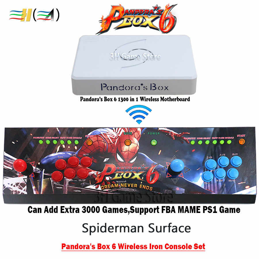 الأصلي باندورا بوكس 6 1300 في 1 ممر وحدة التحكم اللاسلكية الحديد وحدة التحكم مجموعة 2 اللاعبين المقود أزرار HDMI VGA إخراج TV PC PS3