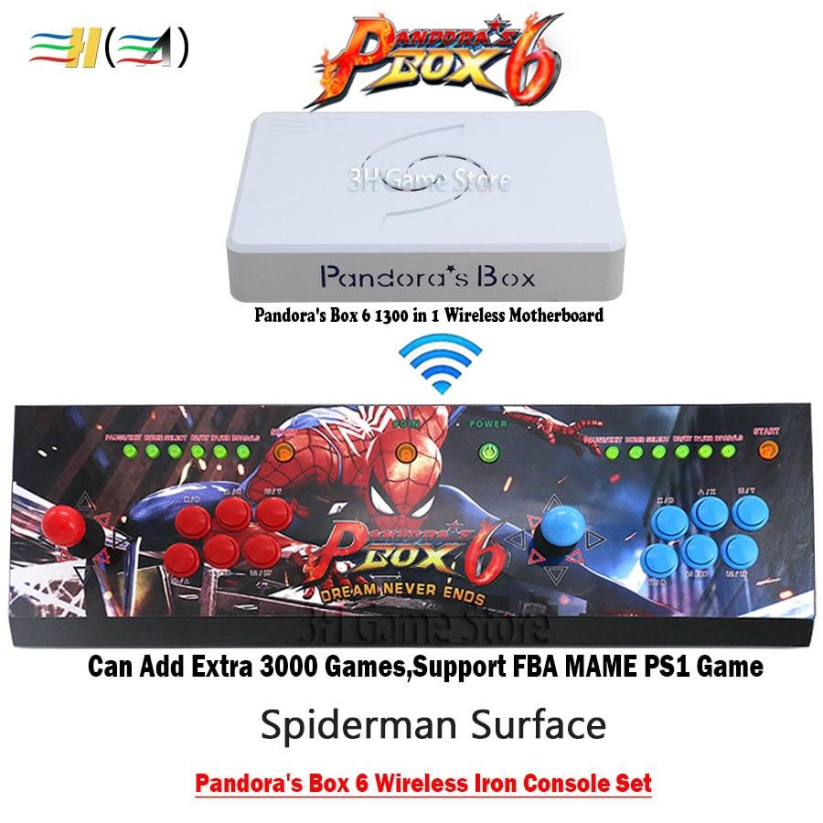 Original Pandora Box 6 1300 en 1 Console d'arcade sans fil fer console ensemble 2 joueurs manettes boutons HDMI VGA sortie TV PC PS3