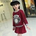 Primavera ropa niñas establece niños clithes niños traje de tela de manga larga bow kids 2 unids top dress girls ropa al por menor yl452