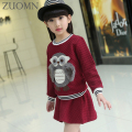 Spring Girls Clothing Sets Kids Clithes Children Cloth Suit Long Sleeve Bow Kids 2PCS Top Dress Girls Clothes Retail YL452
