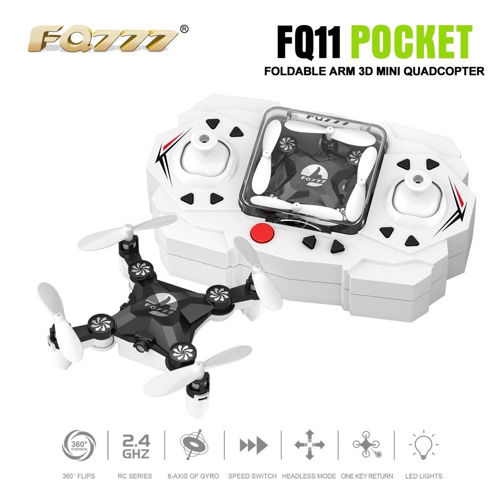 F18357/60 FQ777 FQ11 Avec Pliable Bras 3D Mini 2.4G 4CH sans tête Mode Portable RC Quadcopter Poche Drone Un Retour Key RTF