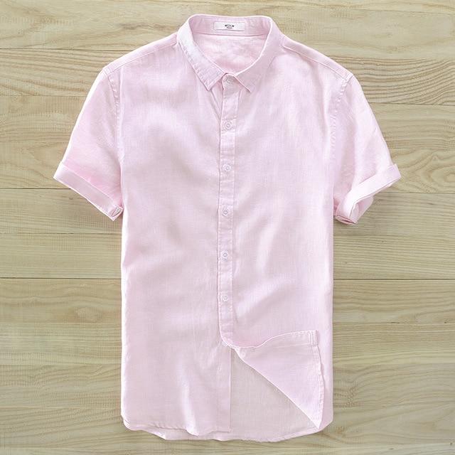 802d7dd2 Men's pure linen short sleeve shirt white pink blue gray summer casual  shirts men sinple dress shirt for me 2018 new arrivals