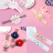 Delicate Baby Girl Hairband Bow Tie Flower Shape Headband Infant Girl Chiffon Hair Accessories Children Elastic Hairband(China)
