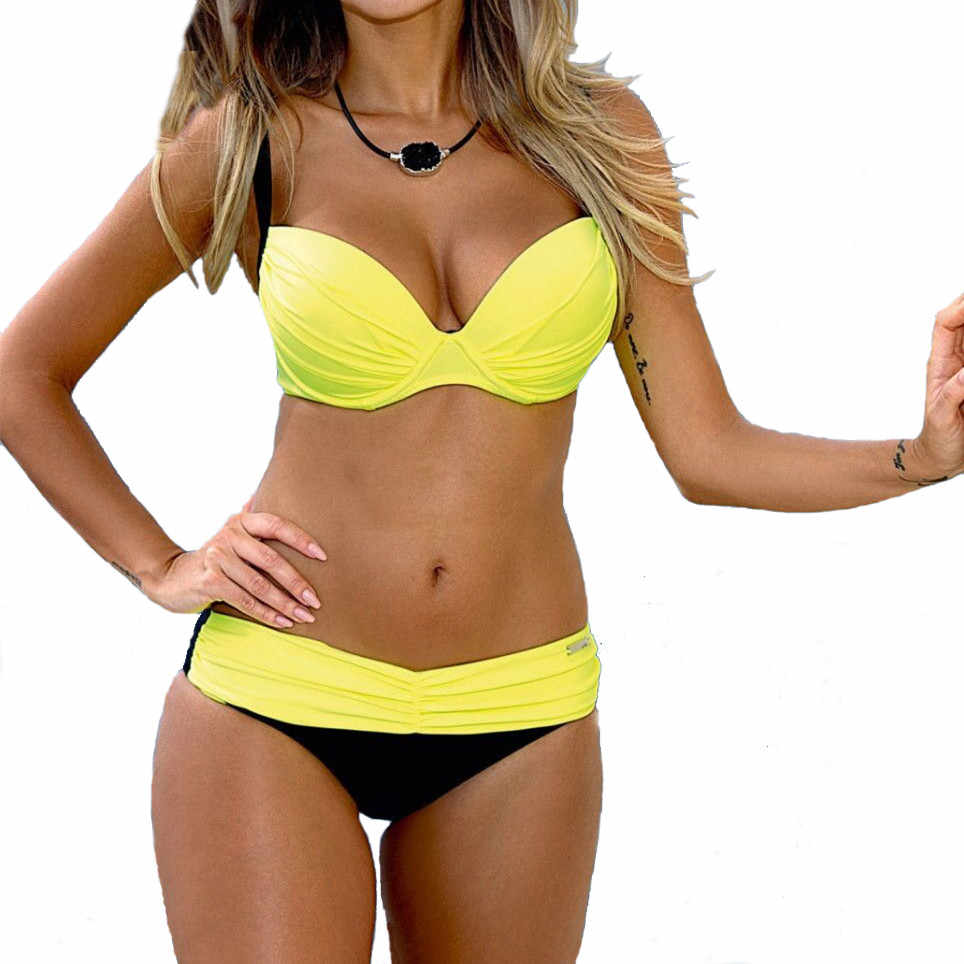 Maillots de bain 2019 Sexy Bikinis Push Up maillots de bain femmes maillot de bain Bandeau plage maillots de bain brésilien grande taille Bikini ensemble Biquini